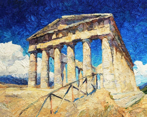 Architecture of ancient Greece original painting, architecture art, oil painintg, old Greek temple painting, contemporary art
