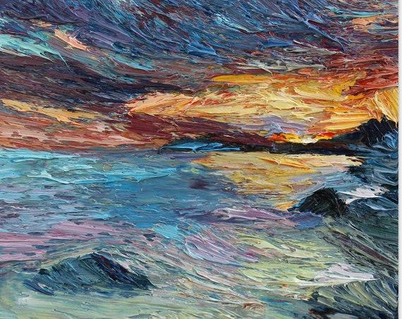 Impasto abstract sunset oil painting, sunset over the sea painting, impasto seascapes, abstract art, ocean sunset painting, aminovart