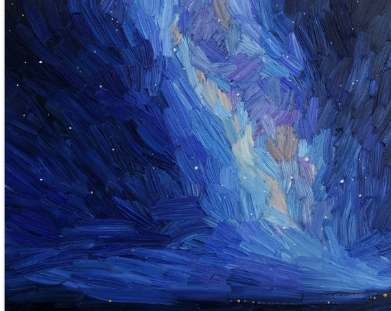 Starry night, sky oil painting, stars, sky seascape and  Milky Way painting, Jupiter and Saturn, night sea, aminovart