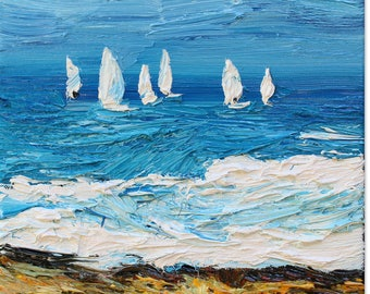 Sailboats small oil painting, original seascape painting on stretched canvas ready to hang, impressionist style art