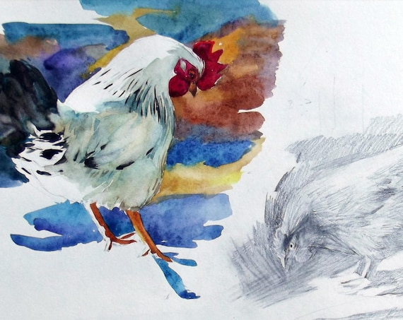 Watercolor painting, white watercolor rooster and pencil drawing hen, original bird art