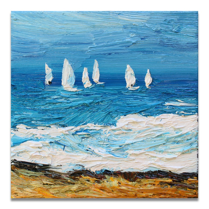 Sailboats small oil painting original seascape painting on image 0