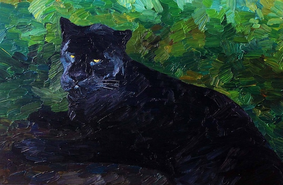 Black Panther original oil painting on canvas, wild animals art, contemporary art