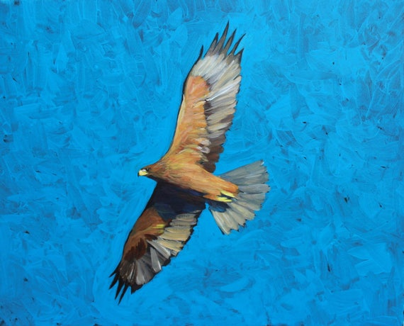 Eagle acrylic painting on paper, birds and animals paintings, acrylic art, contemporary art
