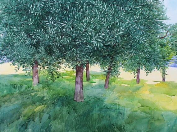 Large watercolor painting, tree art, tree watercolor, Quercus ilex, landscape painting, green park, contemporary art
