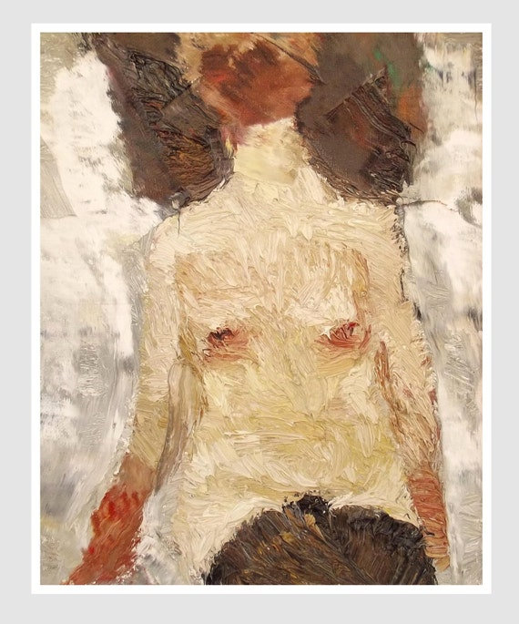 Original abstract female nude oil painting, contemporary art, framed painting