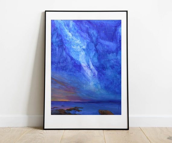 Large watercolor painting, Milky way, watercolor and gouache sky painting, starry Night, contemporary art