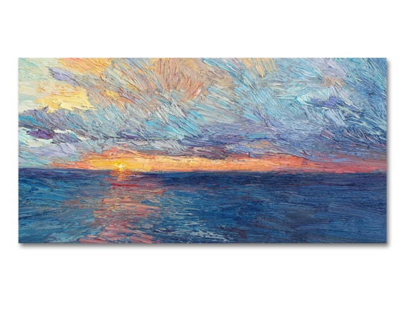 Seascape painting, sunset over the sea oil painting on stretched canvas, impasto art, aminovart, seascape