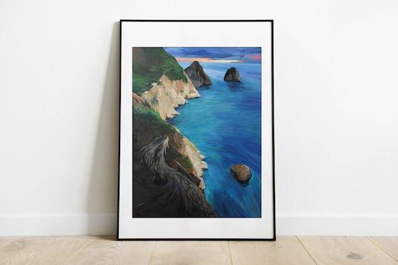 Seascape acrylic painting on paper, coastal art, capri painting, cliffs, dragon art, contemporary art
