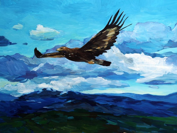 Golden Eagle, acrylic painting on paper, birds and animals paintings, contemporary art