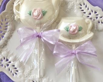 Custom Ivory Tea Party Favors Teacup And Teapot Chocolate Lollipops For Bridal Shower Mothers Day Gift Kids Birthday