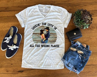 9b7474e6b lookin' for love in all the wrong places, sublimation, urban cowboy, sissy  and bud, bella canvas sublimation shirt, sublimation transfer