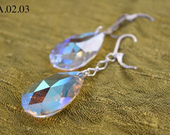 Clear Aurora Borealis Dragon's Eye Drop with Sterling Silver Hook and Chain