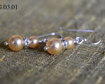 Double Gold Swarovski Pearl and Swarovski Rondelle Earrings and Sterling Silver Hook