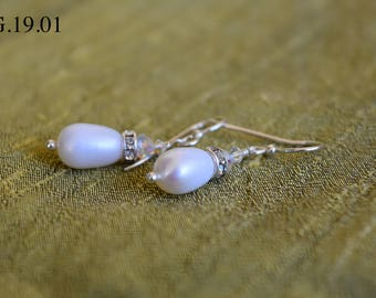 Freshwater Pearl Drop with Swarovski Crystal Rondelle Earrings With a Sterling Silver Hook