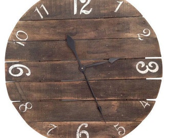 Stained Wood Clock- Number Clock- Rustic Pallet Clock- Wall Clock- White clock- Large Clock- Farmhouse Clock- Round Clock
