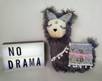 Grey Lulu Llama plush pillow, stuffed llama toy, llama teddy