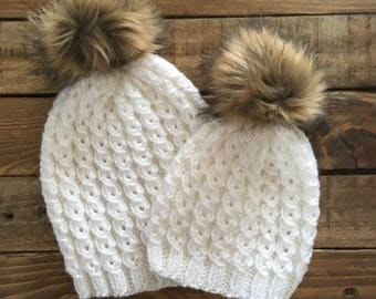 Mommy And Me Hats   Mom And Me Hats   Matching Hats   Baby And Mommy Hats    Baby Hats   Fur Pom Pom hat   Beanie   Toddler Hats 9272137b068