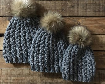 3 Hat Bundle   Mommy And Me Hats   Mom And Me Hats   Matching Hats    Sibling And Mommy Hats   Baby Hats   Fur Pom Pom hat   Beanie   Toddler 45fe10a1329