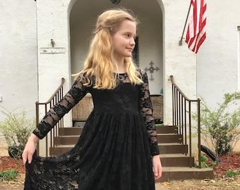 0064e247b6e Black Flower Girl Long Sleeves Lace Dress