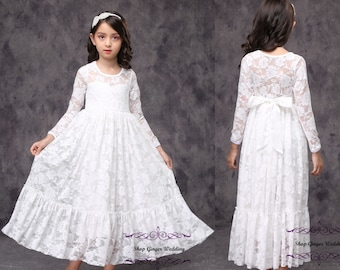 e0760670f5d White Lace Girl Dress