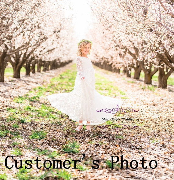 Lace Trumpet Long Flower Girl Dress Birthday Wedding Communion Ship USA D7