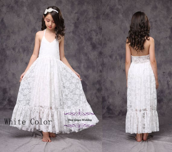 White or Ivory Beach Summer Flower Girl Dress , Girl Lace Dress Bow Sash Children First Communion Wedding Birthday Party Dress