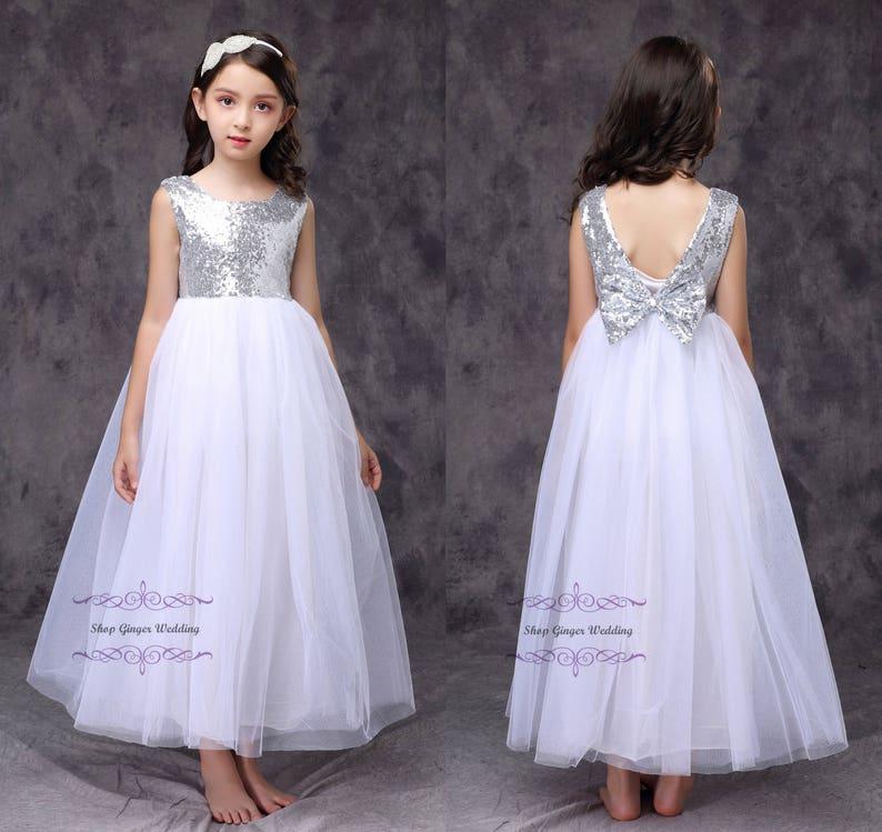 46fffe14d Silver sequin girl dress flower girl dress toddler girl tutu | Etsy