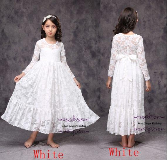 online verkoop op voeten bij koop het beste Witte kanten meisje jurk, ivoor meisje kanten jurk, meisje kant jurk, lange  mouwen meisje jurk, bloemenmeisje jurk, eerste communie jurk D11
