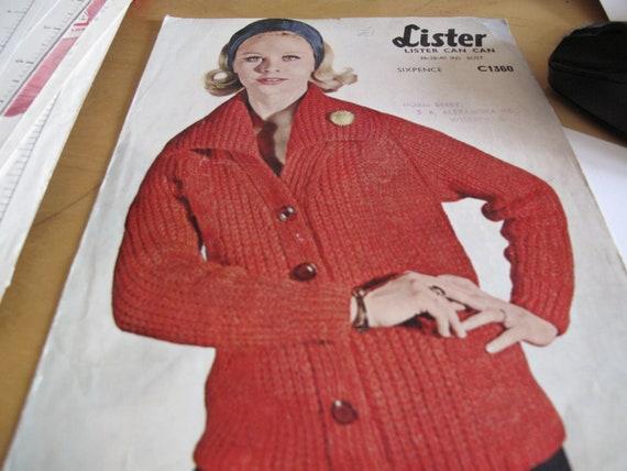 b80cbfc29 1 1960s Lister C1360 Original knitting pattern long sleeved