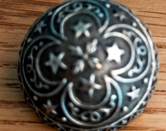 """1 antique silver plated button highly domed with 4 leaf clover and crescent shapes stars and geometric border 15/16"""" or 23 mm 9704"""