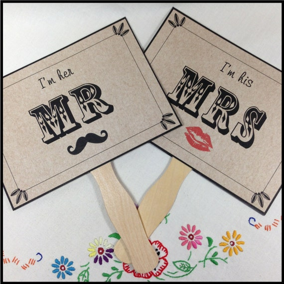 Mr And Mrs Sign Mr And Mrs Paddle Fans Double Sided