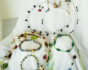 Lot of Vintage and Retro Glass Bead Costume Jewelry - 17 Pieces