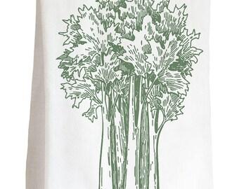 VEGGIE CELERY - 100% Cotton Flour Sack Kitchen Tea Towel