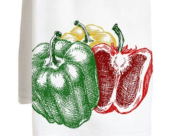 VEGGIE BELL PEPPERS - 100% Cotton Flour Sack Kitchen Tea Towel