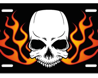 SKULL WITH FLAMES - Printed License Plate