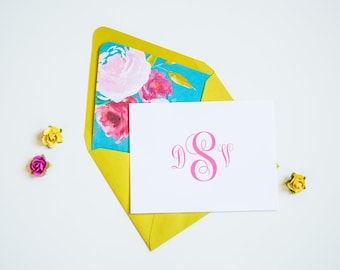Personalized Stationery Set - Monogrammed Stationery Set - Thank You Cards - Boxed Note Cards - Preppy Stationary