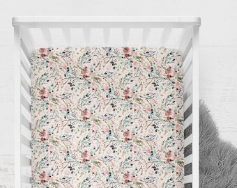 Fitted Crib Sheet Fable Floral Blush. Floral Crib Sheet. Minky Crib Sheet. Floral Baby Bedding. Pink Crib Sheet. Vintage Floral Sheet.