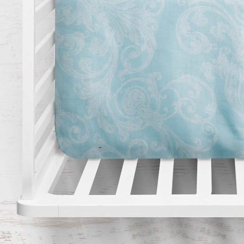 Blue Paisley Fitted Crib Sheet ~ Paisley Crib Sheet ~ Floral Crib Sheet ~ Floral Baby Bedding ~ Baby Shower Gift ~ Baby Gift ~ Quick Ship
