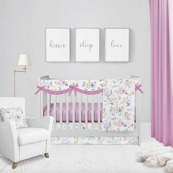 Crib Bedding Set Twilight Unicorn Baby Bedding Baby Etsy