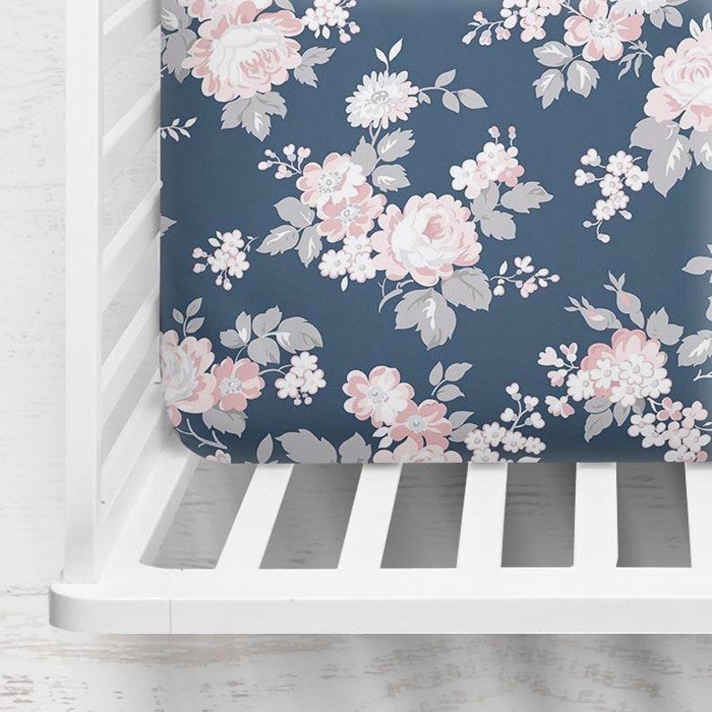 Navy Blush Floral Crib Sheet ~ Fitted Crib Sheet ~ Baby Bedding ~ Crib Sheet ~ Crib Bedding ~ Floral Crib Sheet ~ Baby Gift ~ Quick Ship