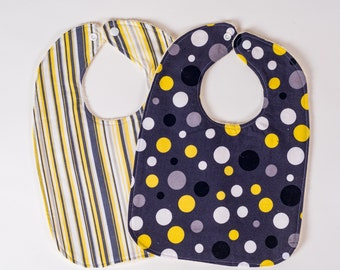 Black Yellow Baby Bibs. Polka Dot Bibs. Stripe Bibs. Toddler Bibs. Baby Drool Bibs. Baby Shower Gift. Baby Essentials. Ready to Ship.
