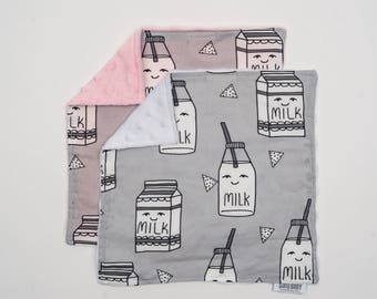 Lovey Milk. Ready to Ship. Mini Baby Blanket. Security Blanket. Milk Lovie. Lovie. Baby Shower Gift. Minky Lovie.