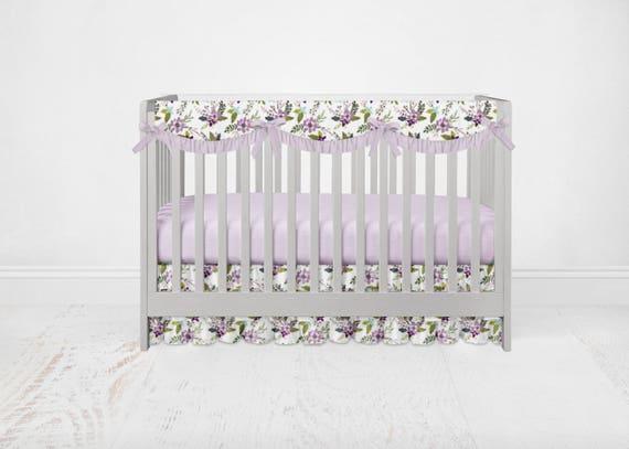 Floral Nursery Bedding Stunning Lavender Lilac Purple Floral Bedding Set Floral Baby Bedding Etsy