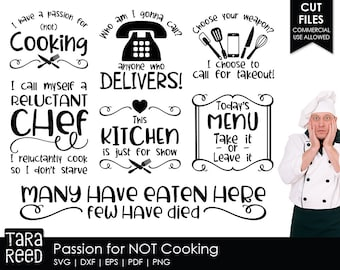 passion for not cooking kitchen svg and cut files for crafters - Kitchen Sayings
