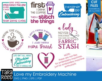 Love my Embroidery Machine - Embroidery SVG and Cut Files for Crafters