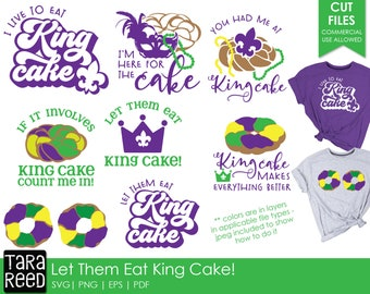 Let Them Eat King Cake - Mardi Gras SVG and Cut Files for Crafters