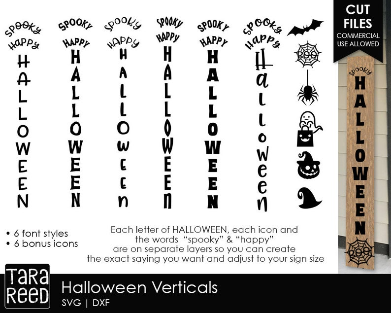 Halloween Vertical Signs - SVG and Cut Files for Crafters
