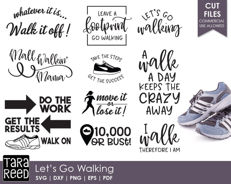 cfa1ceb5e7fd46 Let s Go Walking Exercise SVG and Cut Files for Crafters