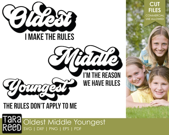 Oldest Middle And Youngest Siblings Family Svg And Cut Files Etsy